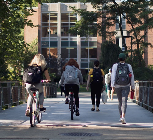 Students walking and biking