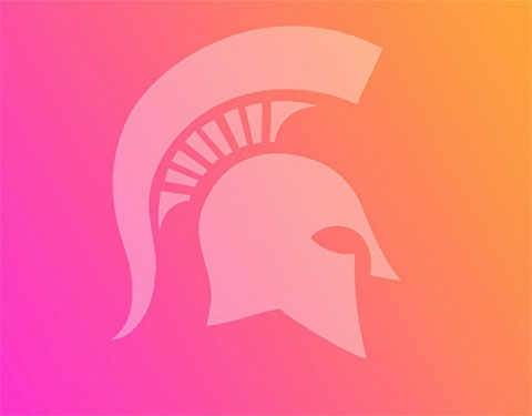Spartan helmet on pink and orange background