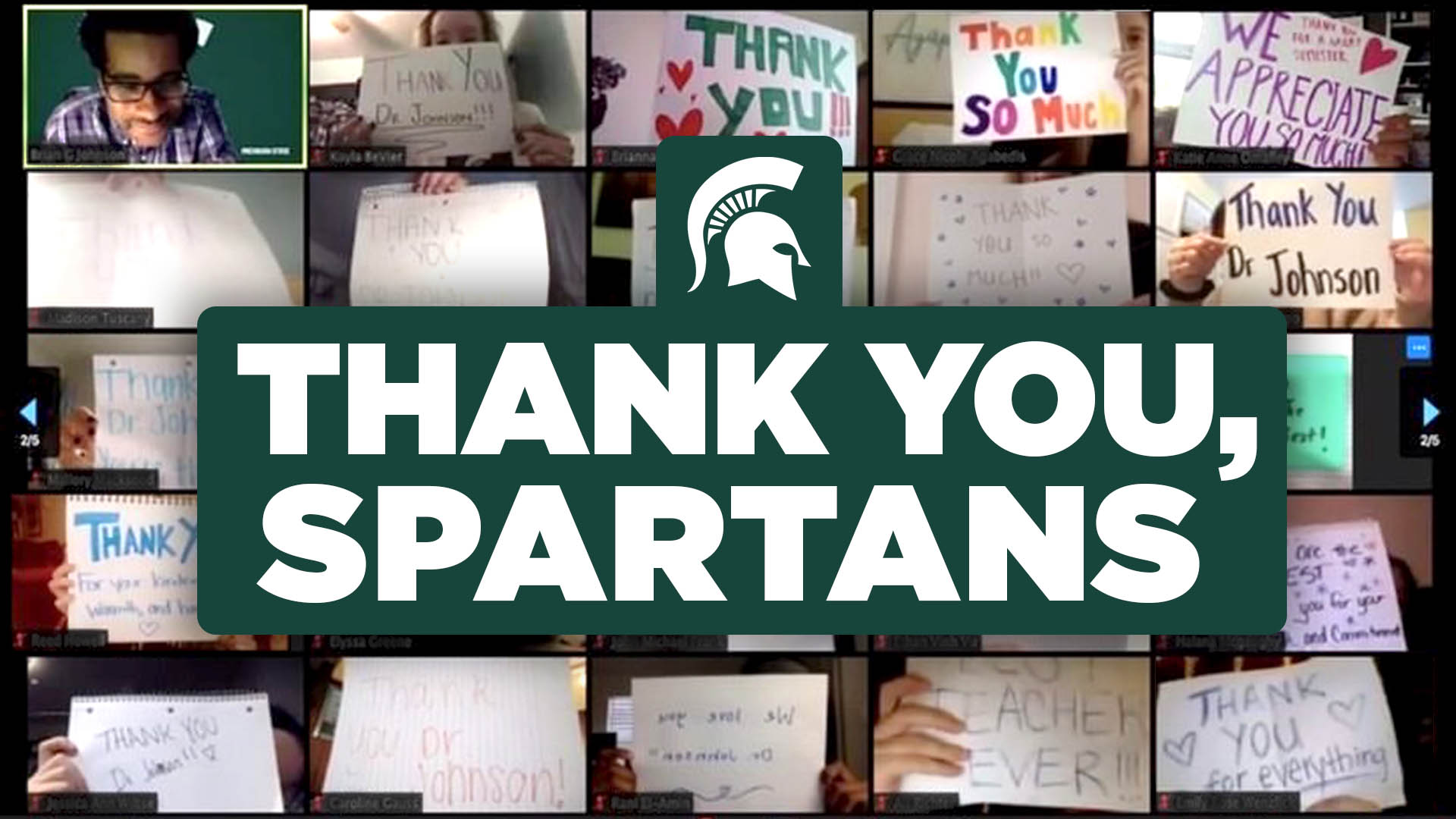 zoom background with students holding up thank you signs