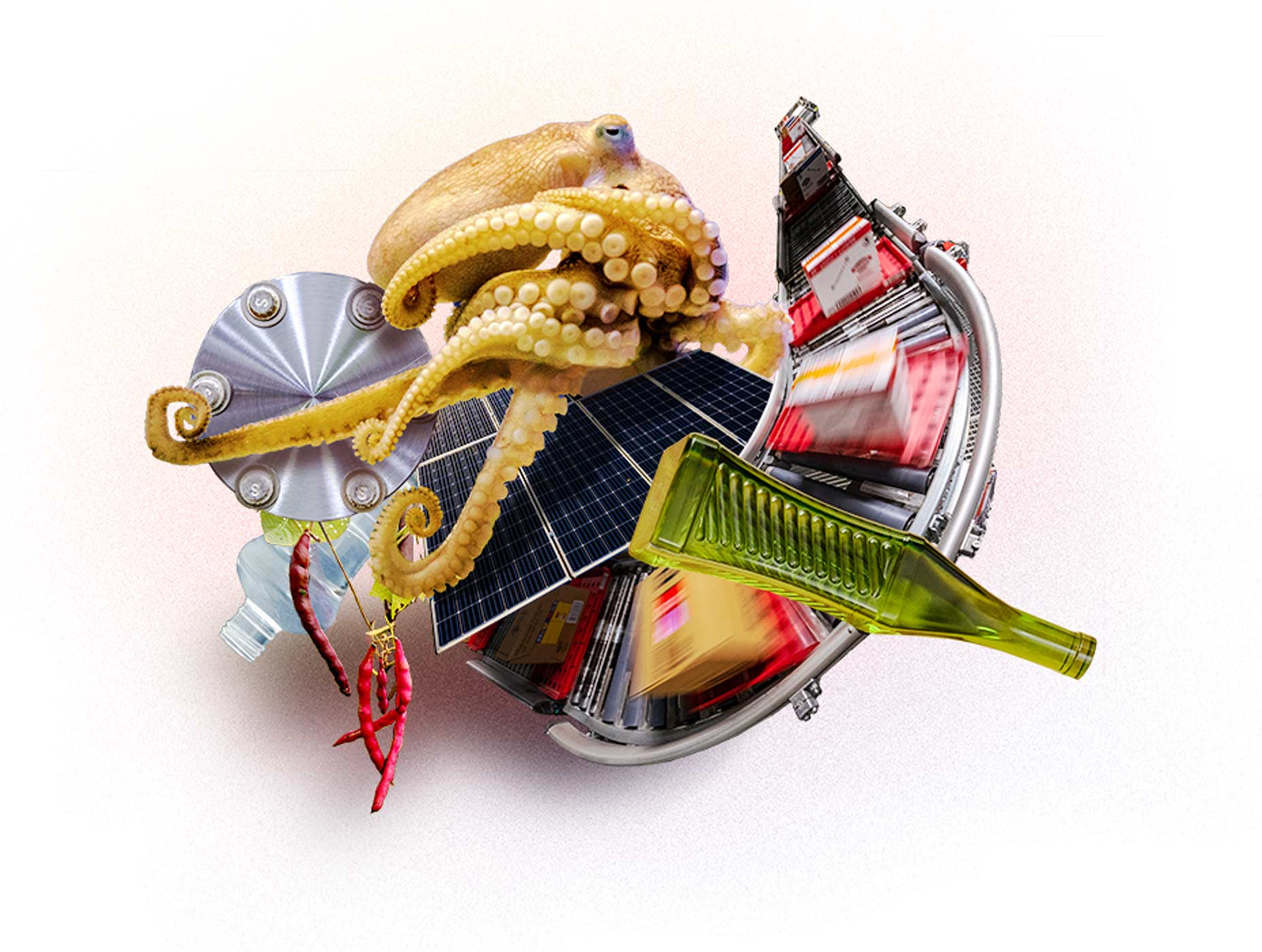 illustration of an octopus, solar panels, a bottle, conveyer belt and machine all tangled up