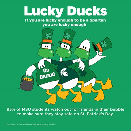 93% of MSU students watch out for friends in their bubble to make sure they stay safe on St. Patrick's Day.