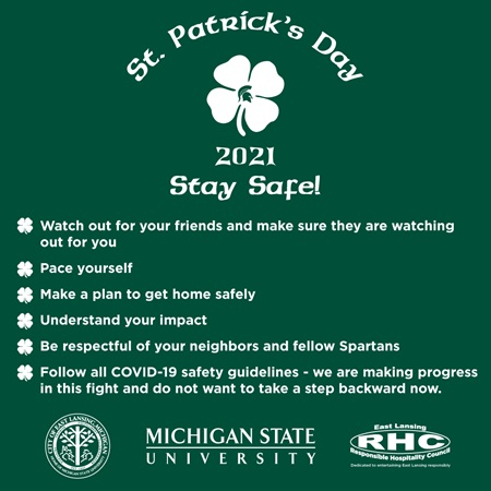 Guidelines for staying safe on St. Patrick's Day in 2021.